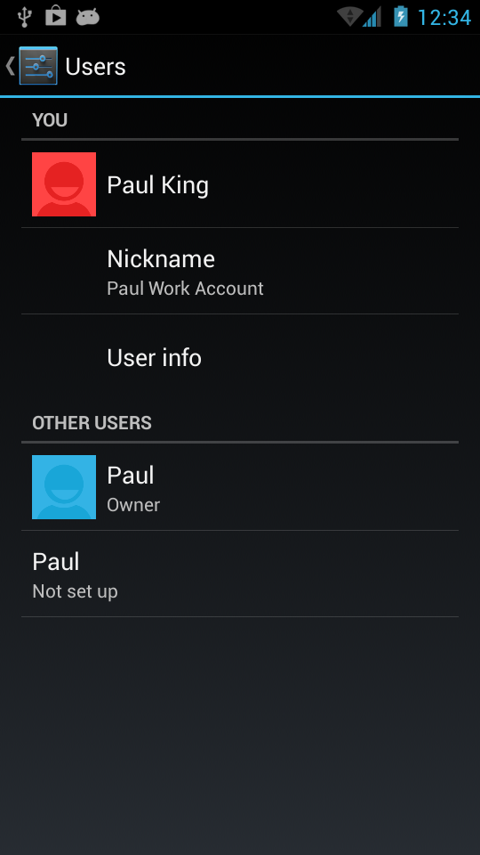 While I didn't get excessively creative in naming the accounts, one is my Gmail and the other is my work's Google account showing off multiple user mode in an AOKP ROM.