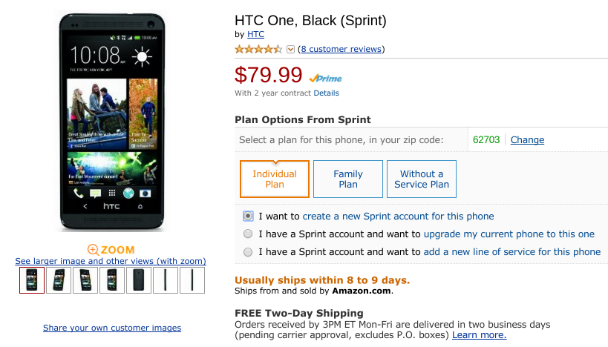 HTC One sale on Amazon