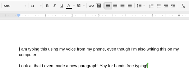 Hands free typing in Google Docs