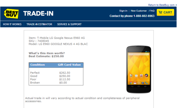 Best Buy Nexus 4 trade in deal
