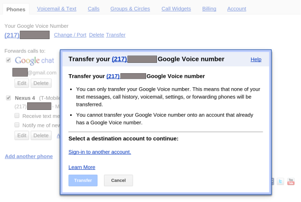 Google Voice number transfer