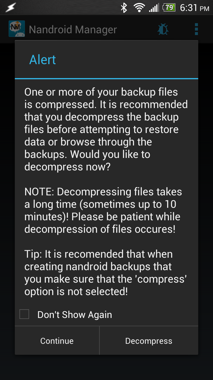 Nandroid Manager conversion screen