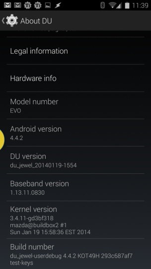 Dirty Unicorns 4.4.2 for the HTC EVO 4G LTE