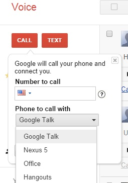 Hangouts in Google Voice