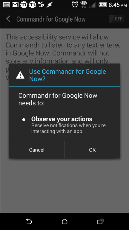 Commandr for Google Now accessibility integration