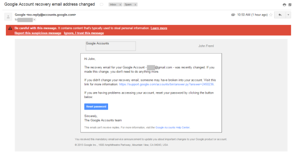 Google spam phishing warning