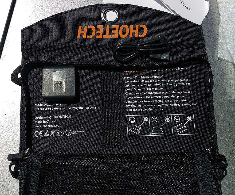 CHOETECH 19W 3AMP portable solar charger