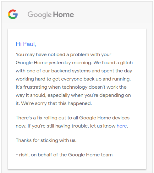 Home outage email