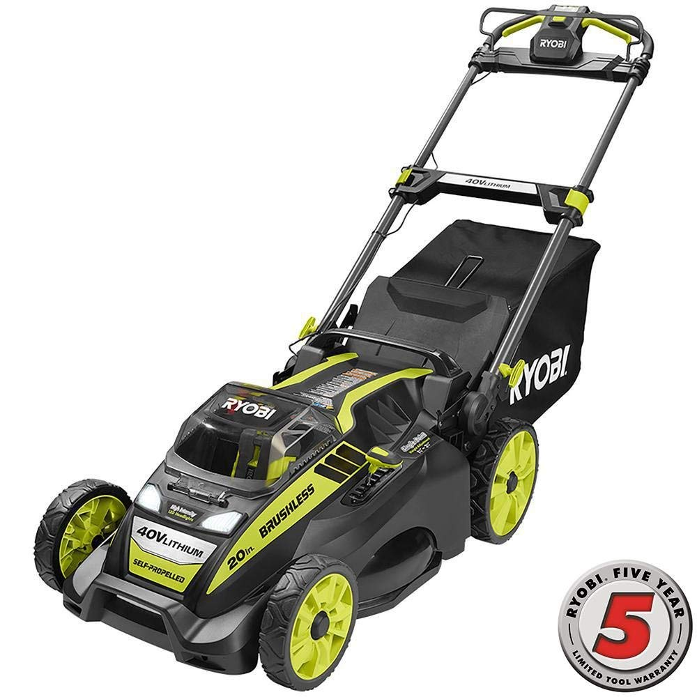 "Ryobi 20"" self propelled battery powered lawn mower"