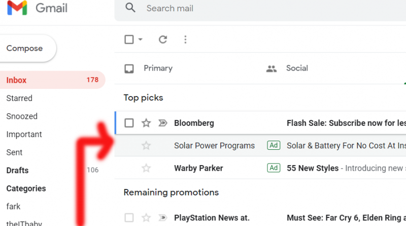 Gmail email advertisements